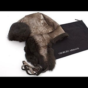 Giorgio Armani Rabbit Fur & Leather Aviator Hat